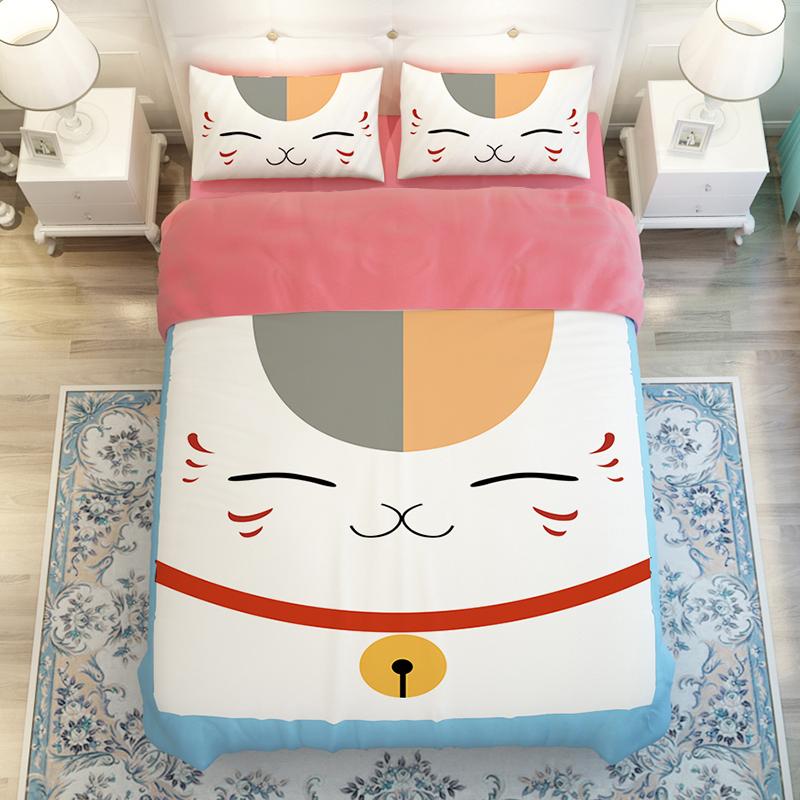 猫咪卡通可水洗四件套韩版春床品三四件套纯色床单床笠被套床上用
