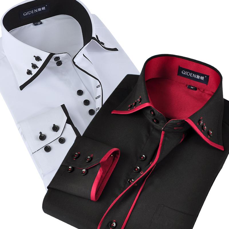 旗顿新款男士棉质衬衫长袖棉衬衣商务休闲英伦修身韩版结婚礼服