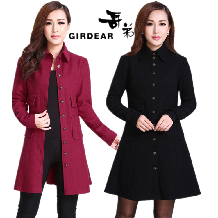 Ladies genuine temperament Korean 2013 new style coat long wild slim wool tweed jacket