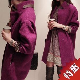 женское пальто Осень/Зима 2013 Новый корейский досуг свободные большие шерстяная ткань пальто темно пряжки длинной шерсти пальто женщин