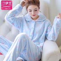 韩版睡衣女人加厚法兰绒套装家居服珊瑚绒秋冬季长袖开衫春秋可爱