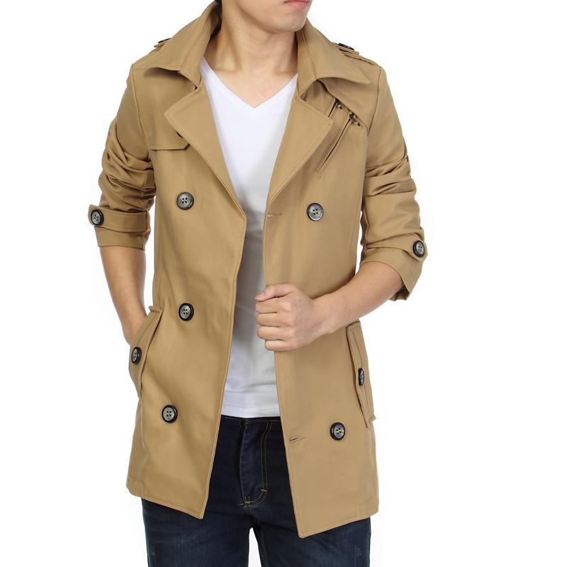 美特斯邦威大衣男 韓版潮中長款英倫雙排扣男士休閑風衣男裝外套圖片