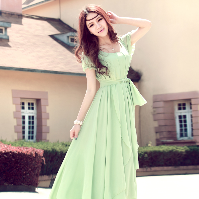 Women short sleeve chiffon long dress