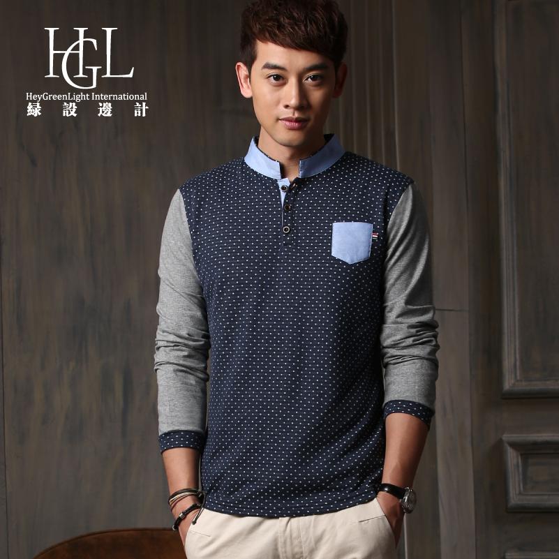 绿设边计 2014新款修身男士长袖t恤男装 日系韩版小立领polo衫
