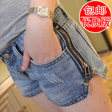 2013 Korean version of the influx of summer new side zipper loose large size low-waist denim shorts female summer was thin shorts