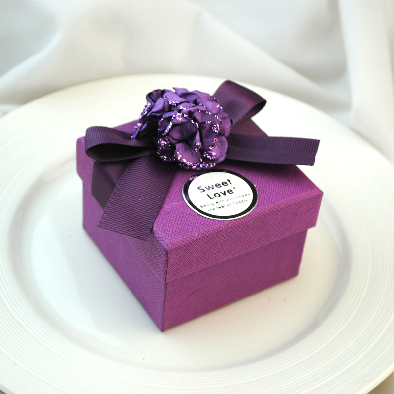 诗诺 高贵紫色硬方盒 硬纸板喜糖盒子 欧式婚庆礼盒