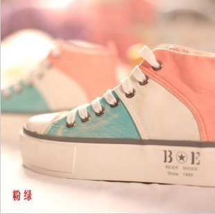 Fall 2013 Korean high sneakers girl Korean version flows thick-soled tie stitching matching color sponge cake with couple