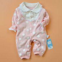 新款婴儿连体衣服春秋女宝宝新生儿薄款纯棉哈衣春装3-6-9月花边