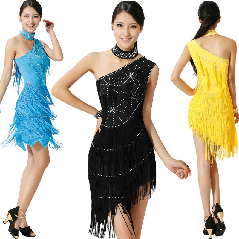 菩�q 新款 水钻流苏斜肩拉丁舞裙 成人 拉丁表演服装 比赛演出服