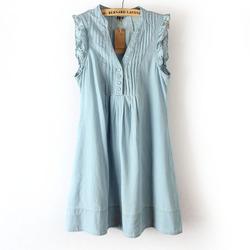 [批发价] 2014春装新款欧美牛仔蓝棉布V领胸前百褶荷叶边无袖连衣裙hm520