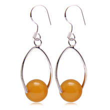 Loose sandy Hu Baltic amber authentic natural beeswax blood amber Jin Po sterling silver earrings earrings on sale