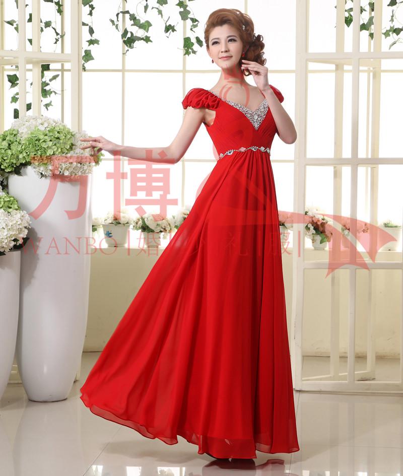 婚纱礼服 2013最新款 新娘礼服红色结婚敬酒服 双肩孕妇可穿