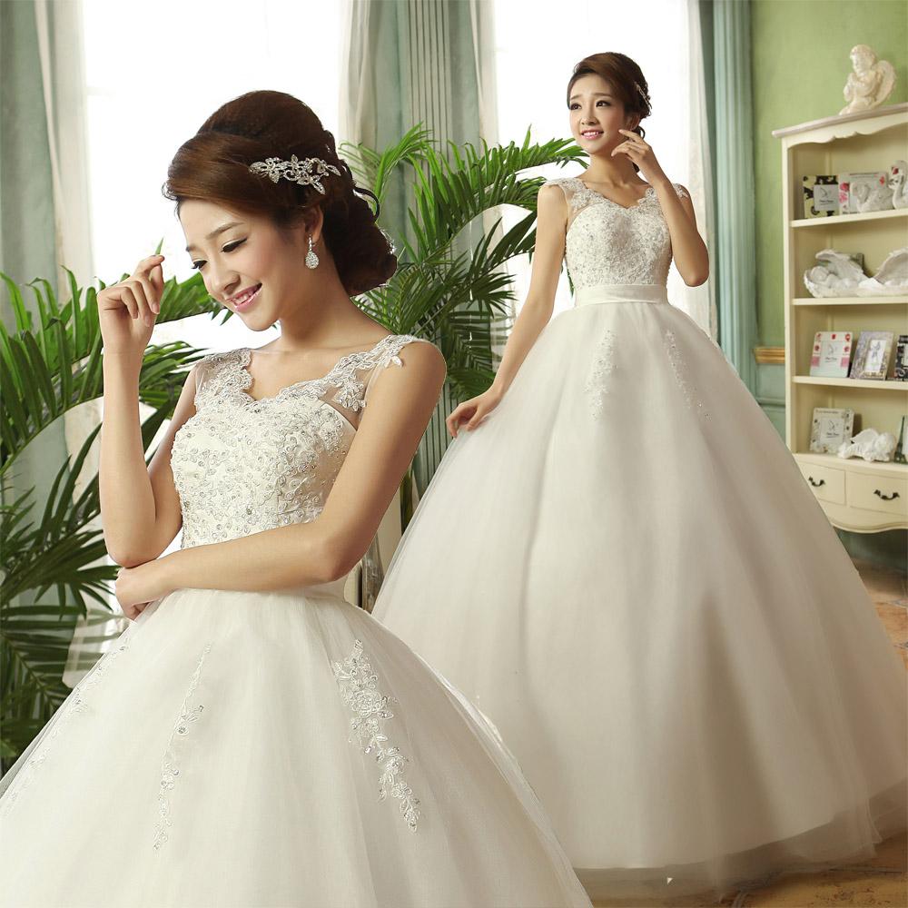 韩版公主新娘结婚婚纱孕妇抹胸蕾丝一字肩齐地婚纱礼服2013最新款