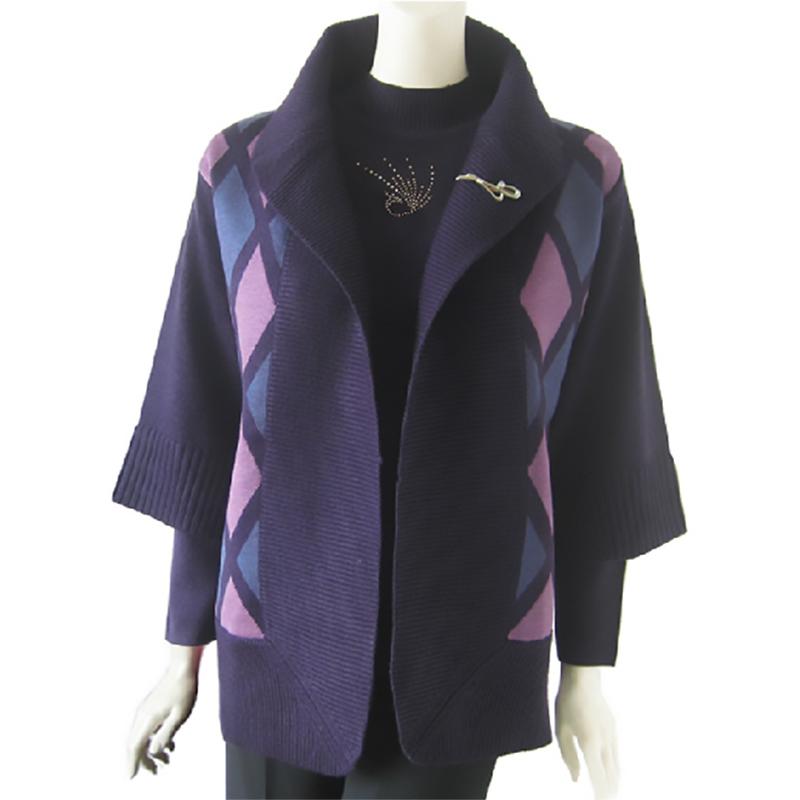 棒约美2013新品中老年女装针织开衫秋冬装两件套时尚大码胖妈妈装