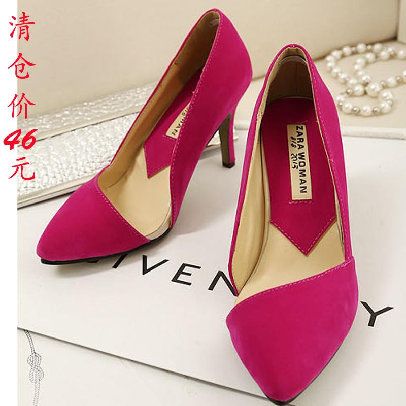 2013新款  韩版OL时尚a鞋侧空尖头单鞋高跟鞋女鞋浅口鞋婚鞋清仓