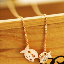 可爱亲吻鱼儿项链 今年新款锁骨链