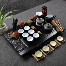 Xinyuan upgrade kit violet arenaceous celadon tea set you little xiangyun kung fu tea set solid wood tea tray of a complete set of special package mail