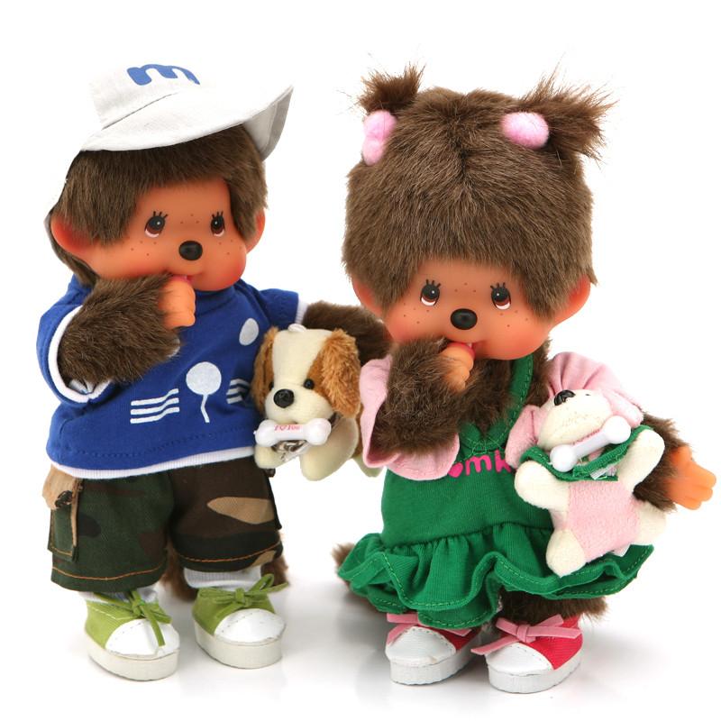特价包邮正版蒙奇奇情侣娃娃 可爱遛狗情侣毛绒公仔 女生最爱玩偶