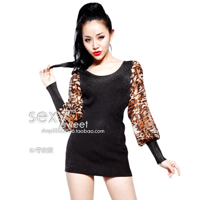 The new European and American fashion temperament leopard print chiffon stitching false two-piece cultivate one's morality package hip lantern sleeve long-sleeved dress