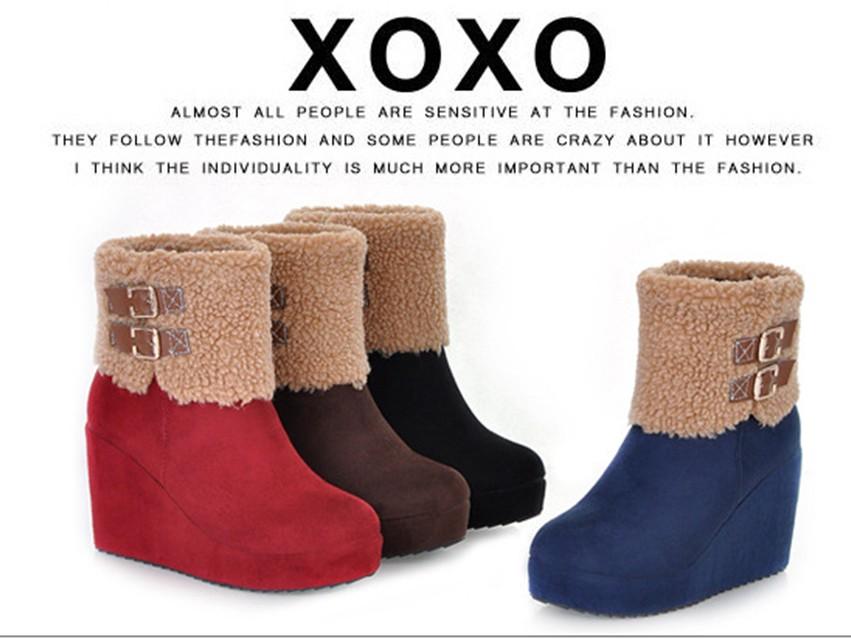 2013冬季红色靴子 新娘鞋婚鞋高跟短靴坡跟靴子冬季磨砂绒面女靴