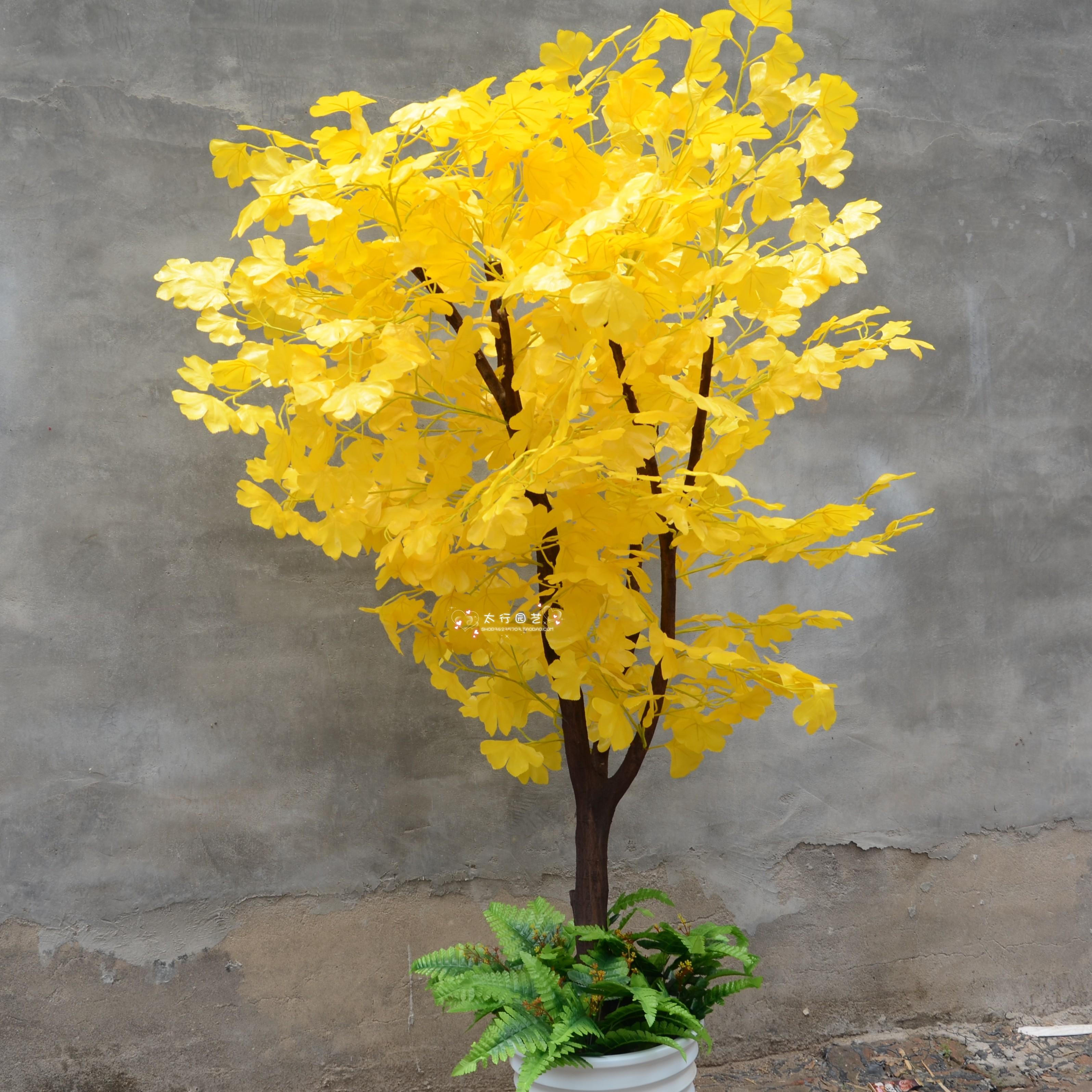 仿真花落地假银杏树婚庆道具黄色金色银杏树 仿真树专业定做图片