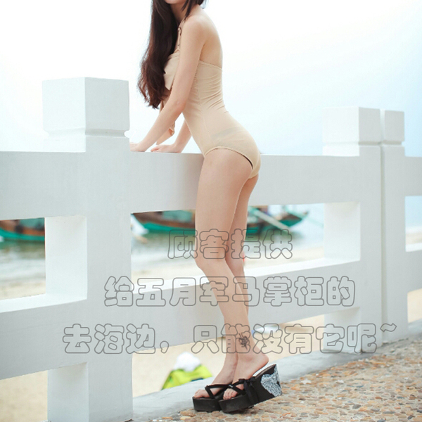 Ms. Xia high with non-slip black folder drag sandals slope with thick crust tide beach flip-cloth slippers