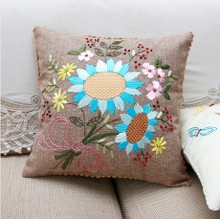 Ribbon embroidery hold pillow pillow new sitting room is the latest version of blue rhyme 02 ribbon embroidery sunflowers flowers bag mail