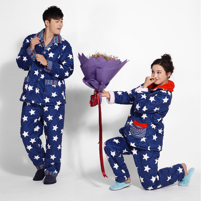 Lovely thick winter coral velvet quilted pajamas men Ms. couple long-sleeved flannel tracksuit large size suits