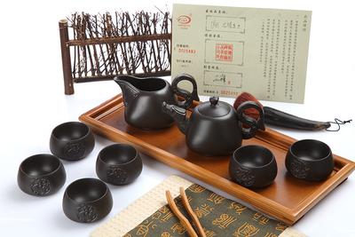Long Detang purple sand tea set/longteng times a teapot tea sea six cup gift box package