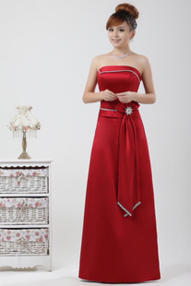 幸福佳人婚纱礼服晚装红色新款长款礼服 伴娘服 敬酒服 演出服