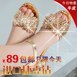 Fu Princess summer 2013 new Korean fish mouth shoes chunky heels with leather ladies Sandals beaded shoes with Rhinestones