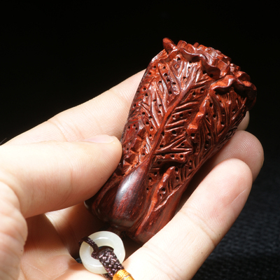 Hui Tong and cabbage one hundred hand-carved rosewood lobular fiscal enrichment Lucky hand pieces playing pieces pendant