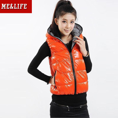 melife Specials 2013 autumn and winter was thin cotton vest female Korean short waistcoat new glossy two wear cotton vest