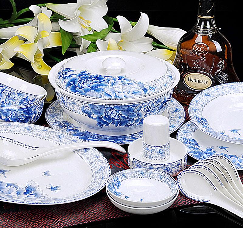景德镇正品56头骨瓷餐具 优雅蝴蝶兰 厨房餐饮用品 高档礼品餐具