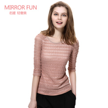 [Sale] MIRRORFUN Hui Fang 2013 summer new ladies OL lace bottoming shirt sleeve T-shirt women