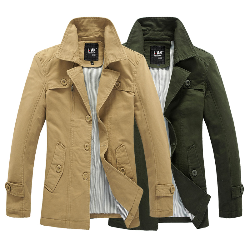 2013 new spring men's Korean cultivating leisure long windbreaker men's cotton washing fashion jacket (Color classification:Army green) (Jacket Size:M)