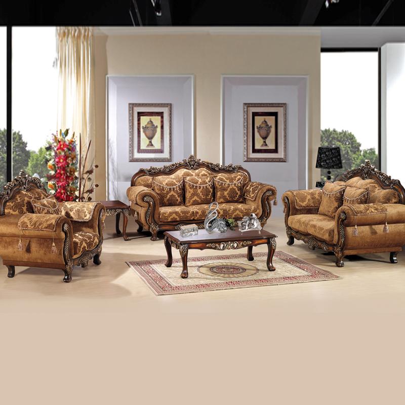 Диван Специальный Европейский стиль диван твердой древесины ткань диван классический диван 1+2+3 взрыв моделей Смешанная ткань