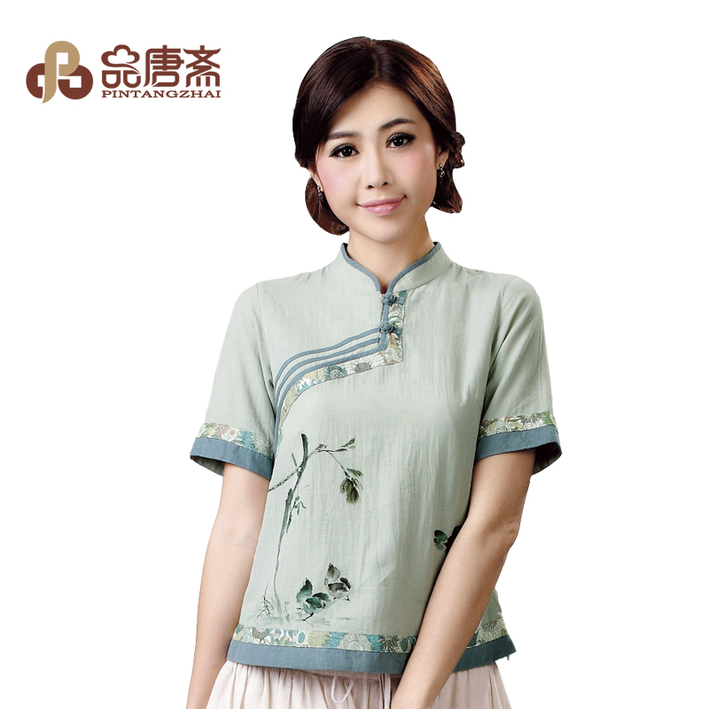 Chinese national air improvement for the original Republic of clothing Chinese clothes shirt women/summer FROG cotton plus size women's clothing summer clothing