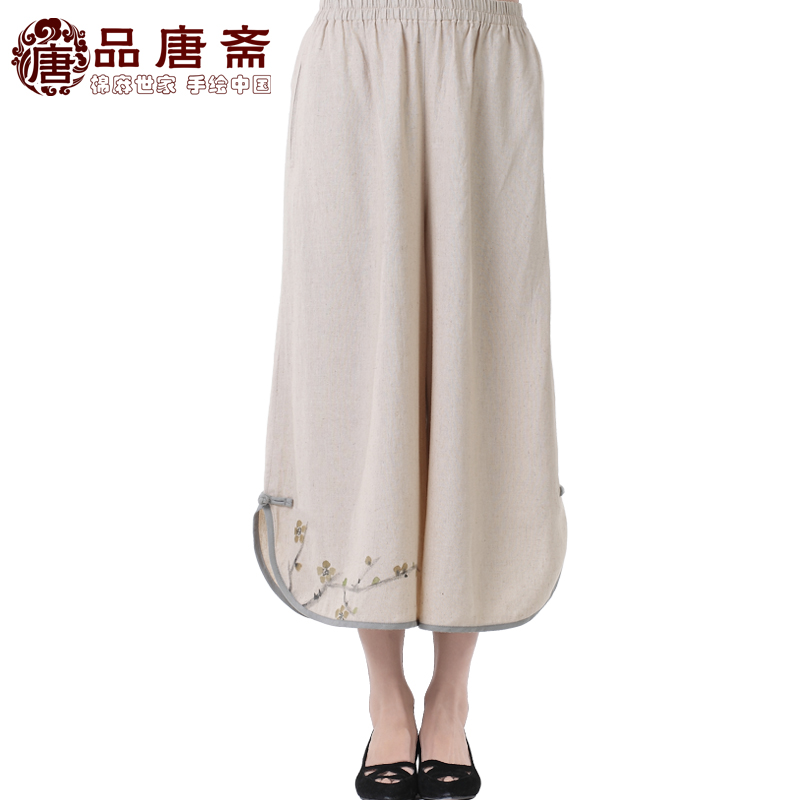 Ms Tang Zhai new summer clothes clothing cotton and linen wide leg pants female Chinese national wind women's apparel down