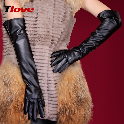 SpecialTLOVE women long section over the elbow leather gloves 50cm spring and winter gloves female Ms. arm sleeve winter 6035