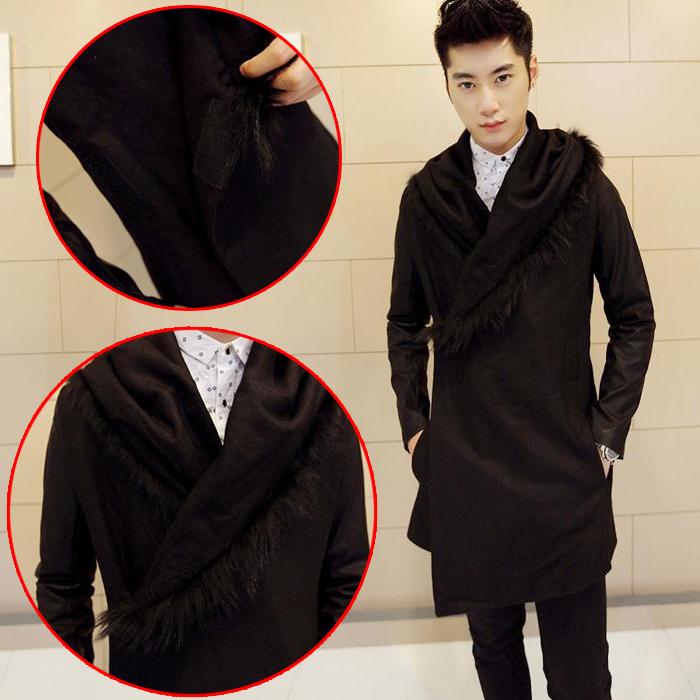 冬季英伦男装原宿暗黑发型师时尚服装外套韩版潮中长款连帽呢大衣图片