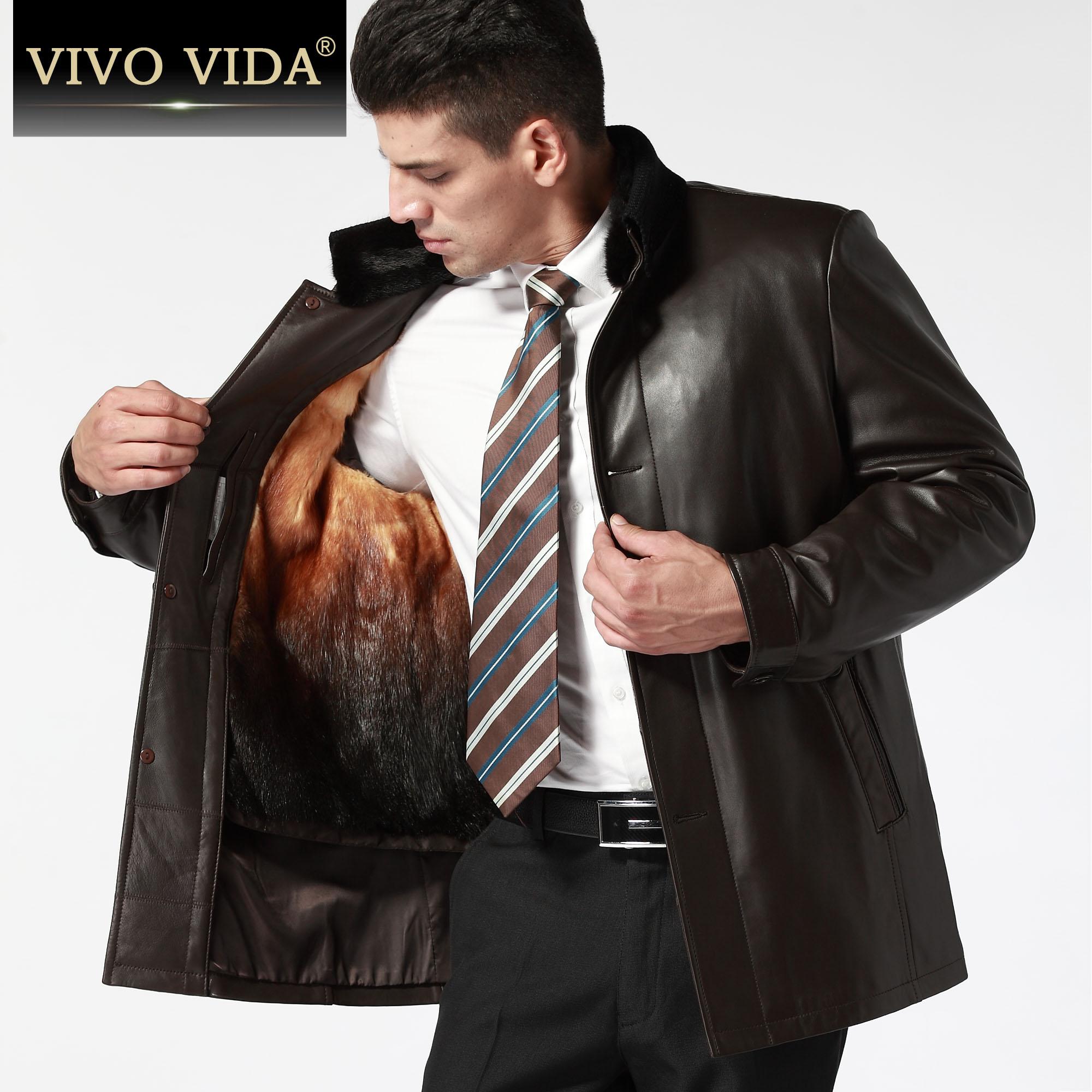 Одежда из кожи Vivovida d8826 С мехом Овечья кожа Зимняя Воротник-стойка