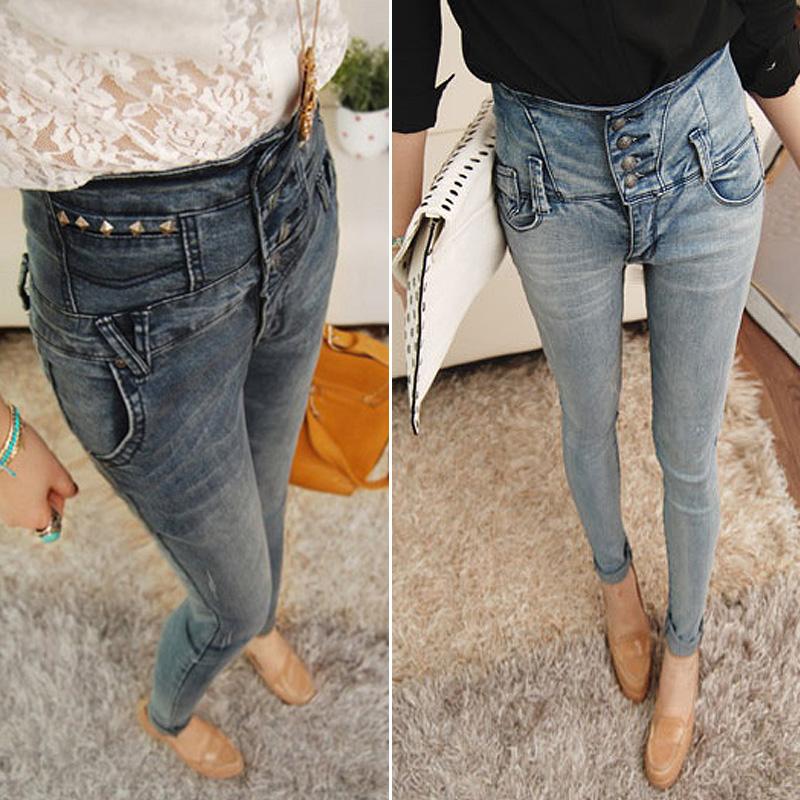 Джинсы женские Корейский весна новая ретро растянуть высокой талии тонкий клепки сине серый светло синий узкие брюки джинсы женские с всплеск связанные ноги