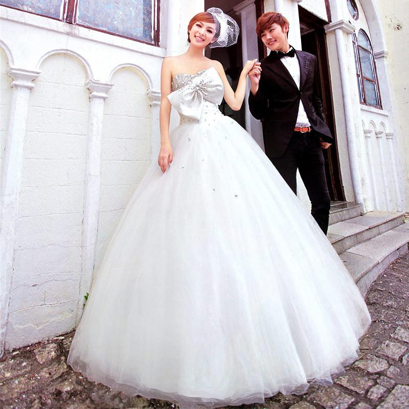 名门新娘婚纱礼服结婚季 抹胸齐地公主婚纱 最新款蓬蓬婚纱 896