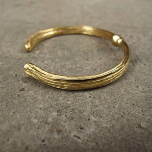 原创设计黄铜镀金手镯 男女款平安藤镯子