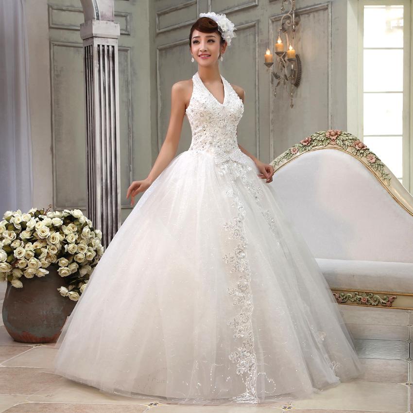 婚纱礼服 新款2013 韩版甜美公主 奢华珍珠挂脖吊带v领性感婚纱