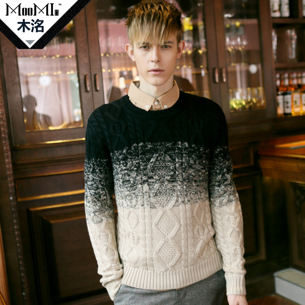 MooMi  men sweater round collar more winter new sweater sets men's clothing line unlined upper garment Taobao Agent