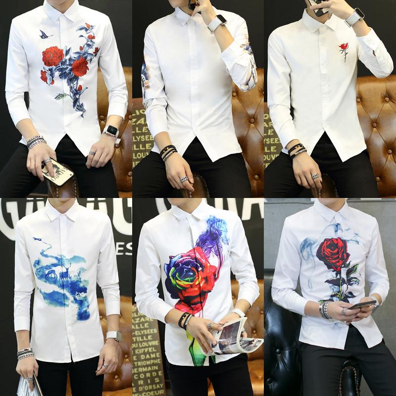秋季薄款男士长袖衬衫韩版修身青少年学生打底休闲印花白色衬衣潮