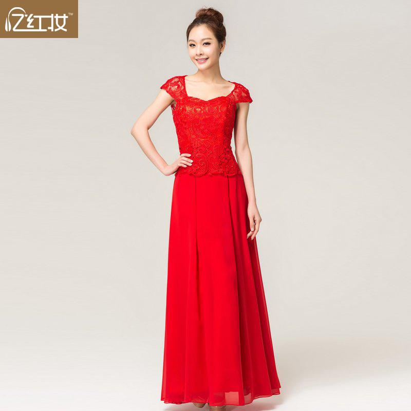 2013新款新娘结婚婚纱礼服 红色抹胸包肩蕾丝长款伴娘敬酒晚礼服