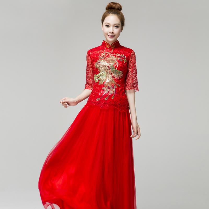 忆红妆 长款长袖凤凰结婚旗袍秋冬 2013新款婚纱礼服红色敬酒服